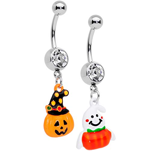 Body Candy 2PC Clear Accent Pumpkin Ghost Bonus Pack Stainless Steel Belly Button Rings
