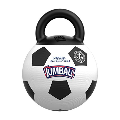 Gigwi JUMBALL Dog Tug and Toss Interactive Toy Soccer Ball for Dogs, Football Dog Ball with Handle Diameter 8 Inches Including Needle Inside, Excercise Ball for Large Dogs But not Aggressive Chewers