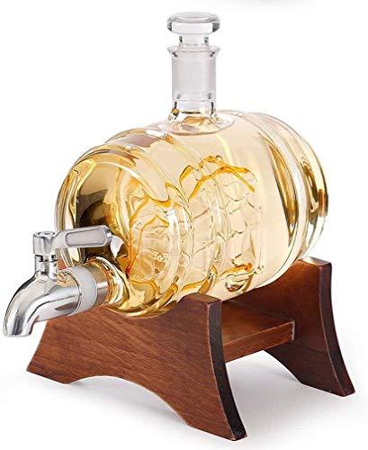 CYHT Decantador de Whisky, dispensador de licores de 1000 ml Decantador de Barril Hecho a Mano con Soporte de Madera, dispensador de Bebidas náuticas, Bourbon