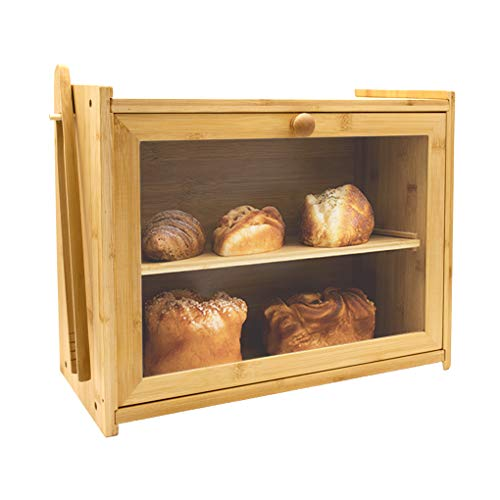 Bamboo Bread Box Wooden Bread Storage Adjustable Layer Bin Bread Container with Toaster Tong Front Clear Window for Kitchen Counter, Large Capacity Bread Keeper (Self-Assembly)