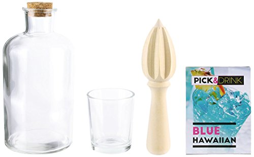 Pick and Drink KDO8586 Coffret Rhumerie, Bois + Verre, Transparent, 8 x 8 x 16,7 cm