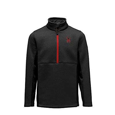 Spyder Boy's Encore Fleece Jacket – Kids Half Zip, Pullover Outdoor Apparel, X-Large, Black