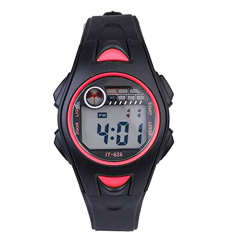 Dxlta Relojes de Pulsera niños - Electrónicas Multifuncional 30m Impermeable Reloje - Deporte Negro/Rosa