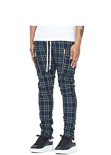 HDUFGJ Herren Casual Plaid Pocket Elastic Waist Slim Lange Hosen Hose Elastische Taille Gürtel Und Tunnelzug Boxershorts Unterwäsche Unterhosen XXL(Grün)