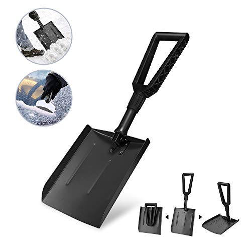 Best Deals! V VONTOX Snow Shovel, Emergency Folding Snow Shovel with D-Grip Handle and Durable Alumi...