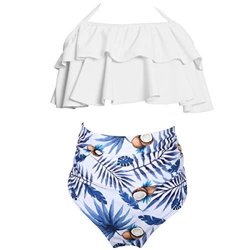 AOWKULAE Toddler Baby Girls Bikini Swimsuits Two Pieces Ruffle Falbala Swimwear Bathing Suits, White Coconut,2-3 Years = Tag 104