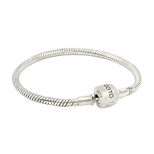 COTO 925 Silver Snake Chain Bracelet Fit Charm Beads DIY Fine Jewelry Creative Gifts for Women 9 Inch