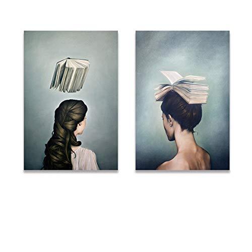 Surrealistische Mädchen und Bücher Design Leinwand Malerei Moderne Plakate und Drucke Kunst Wandbilder für Wohnzimmer Home Decor-50x70cmx2pcs No Frame