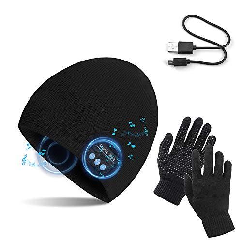 TAGVO Gorro Bluetooth V5.0 con Conjunto de Guantes con Pantalla táctil, Gorro de música inalámbrico de Punto cálido de Invierno con micrófono inalámbrico para Correr esquí Senderismo,Regalo Navidad
