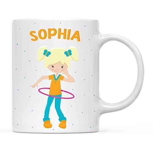 Taza personalizada de chocolate caliente con leche para niños, patio de recreo, escuela, niña de pelo rubio con anillo rosa, paquete de 1, taza de café de Navidad personalizada para cumpleaños de niño