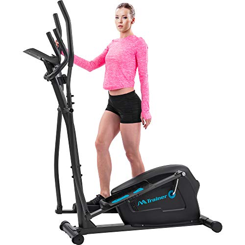Merax Elliptical Trainer Machine with 8 Level Magnetic Resistance, LCD Monitor and Pulse Grips, Quiet Elliptical Exercise Machine for Home Use (Blue)