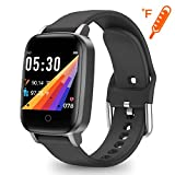 moreFit Smart Watch Health Tracker Body Temperature Heart Rate Monitor Fitness Tracker Step Calorie Counter Sleep Monitor Breath Guide Waterproof 1.3' Color Screen Activity Tracker Watch for Men