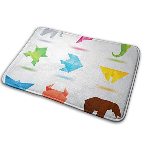 hdyefe Origami Coloured Animals Vector Alfombras/tapetes/tapetes Suaves/Lisos para escaleras Piso del Inodoro Dormitorio Sala de Estar baño Cocina decoración del hogar 40x60cm