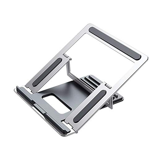 OCGDZ Laptop Stand Supports Up To 15.6-inch Adjustable Laptop/tablet With 4-stage Adjustment Portable Laptop Stand Aluminum Lifting Plate (Color : Silver)