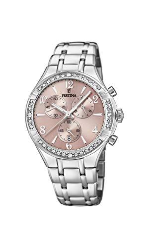 Festina Damen Chronograph Quarz Uhr mit Edelstahl Armband F20392/3