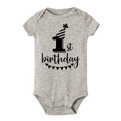 Mornyray T-Shirts d'été en Coton pour bébé 1er Anniversaire (Color : SRPGY, Size : 12M)