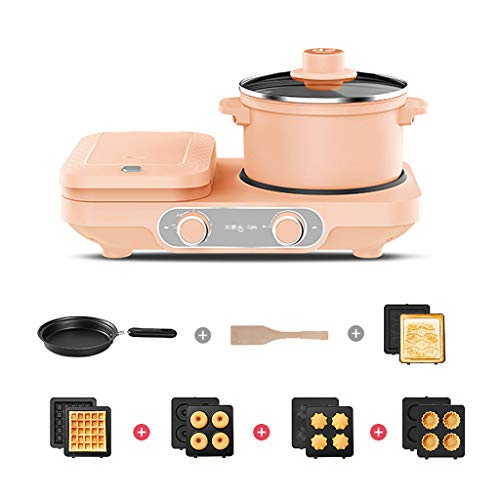 CJSWT Household Multifunctional Electric Breakfast Waffle Maker Automatic Sandwich Bread Toaster Ham Meat Grill Pan,B