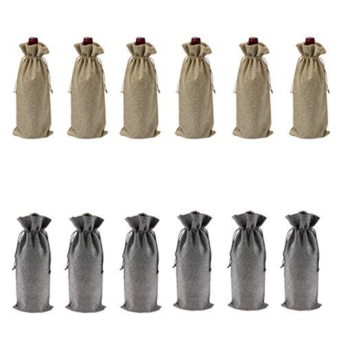 Gesh 12 bolsas de vino duraderas de arpillera para botellas de vino tinto, bolsa de vidrio de viaje, bolsa de regalo para bodas, fiestas, bolsas de embalaje reutilizables