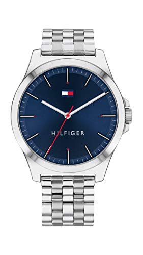 Tommy Hilfiger Relógio masculino de quartzo com pulseira de aço inoxidável, prata, 20 (modelo: 1791713)