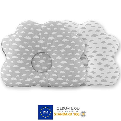 everlar® Ergonomisches Babykissen gegen Plattkopf   Made in EU   ÖKO-TEX 100   Besonders Atmungsaktive Premium Qualität   100% Baumwolle   Für eine schöne Kopfform & entspannten Schlaf   WWG