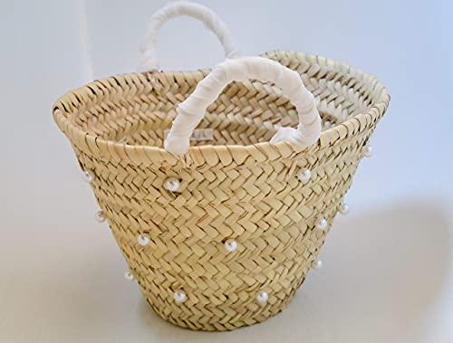 Mini Capazo Artesanal Jazmín - cesto o bolso mimbre para novia o arras
