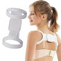 男性と女性の姿勢装具調節可能なショルダー装具ショルダーサポート姿勢矯正とアライメント目に見えない胸のサポート (White)