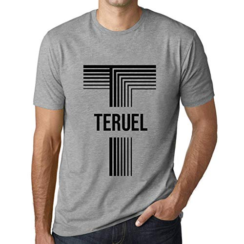 One in the City Hombre Camiseta Vintage T-Shirt Gráfico Letter T Countries and Cities TERUEL Gris Moteado