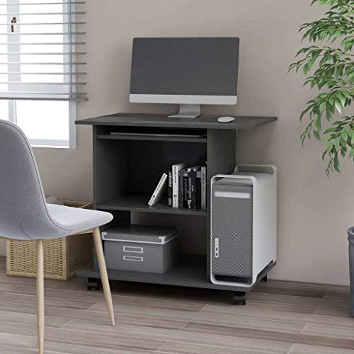 vidaXL Mesa de Ordenador Escritorio de Oficina Muebles Despacho Ejecutivo Estudio Robusto Estable Simple Aglomerado Gris 80x50x75 cm
