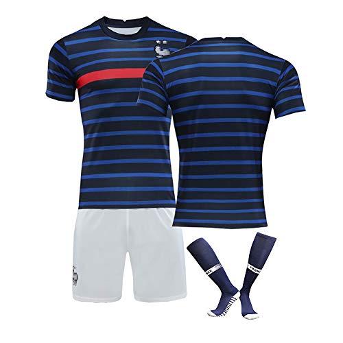 FDSEW Fußballtrikot & Shorts & Socken Personalisiert, 20-21 Frankreich Heim- und Auswärtstrikot Europapokal Nr. 6 Pogba Fußballtrikot-blue-20