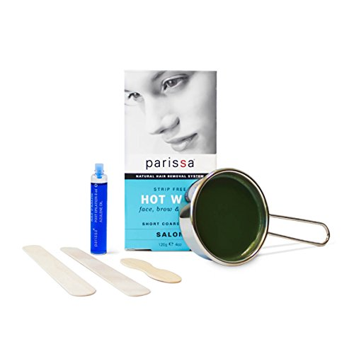 HOT (Hard) Wax Strip-Free (120g), Parissa Salon Style Hair removal waxing Kit for bikini, brazilian, face, upper lip, Eyebrow With after care Azulene oil