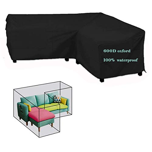 Raword Garden Furniture Covers 600D Heavy Duty Oxford Fabric Garden Rattan Corner Furniture Cover Outdoor V Shape Waterproof Sofa Protect Set (215 * 215 * 87cm)