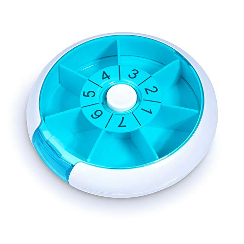 Upgraded Pill Box Round for Travel, Opret Pill Case Organizer 7 Day Weekly Daily Once a Day with 7 Compartment (Blue)