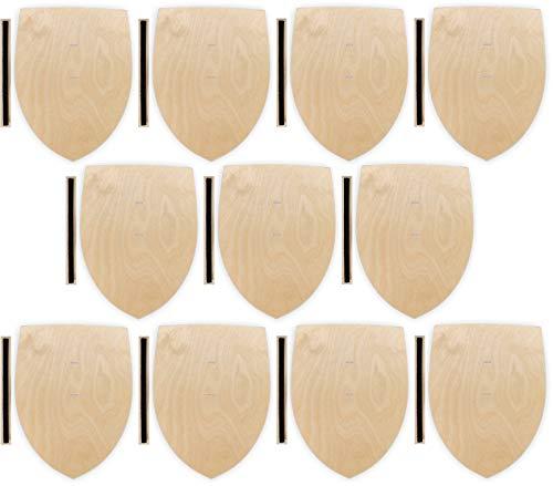 Herr Bo & Co 10x Ritterschild aus unbehandeltem 3mm Birkensperrholz, inkl. Halteschlaufe aus hochwertigem doppelseitigem Klettband, FSC-Zertifiziert, Made in Germany