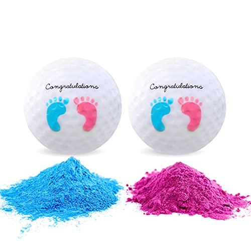 Juego de pelotas de golf para fiestas de revelación de género, una tee de madera, una bola de golf de color rosa y una azul rellena de polvo para revelar el género incluido en cada juego