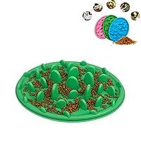 Chenhuis リンペット猫と犬ジャングルシリコーン抗チョークフードボウル、サイズ:30.5x22.5cm (Color : Green)