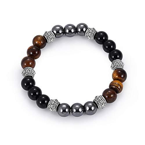 Crintiff - Bracelet Perle Oeil De Tigre, Hématite et Obsidienne Noir pour Homme et Femme