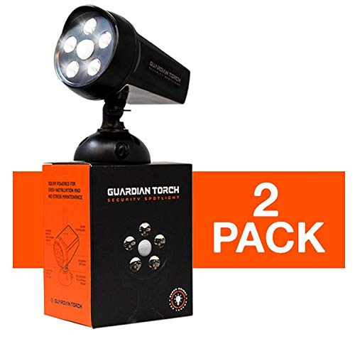 Guardian Torch - Home Security Spotlight (2 Pack) Solar Powered - 120° Motion Sensor - IP65 Water Resistant Outdoor Floodlight - 5 Bright LED Lights - Dusk to Dawn