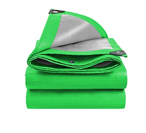 JHNEA Tarp, Waterproof Plastic Poly, Tarp Cover Sliver/Green Heavy Duty Thick Material, 12 mil Thick Tarpaulin with Metal Grommets,Reinforced Rip-Stop Tarp,Green/Sliver_4*4M(12 X 12ft)