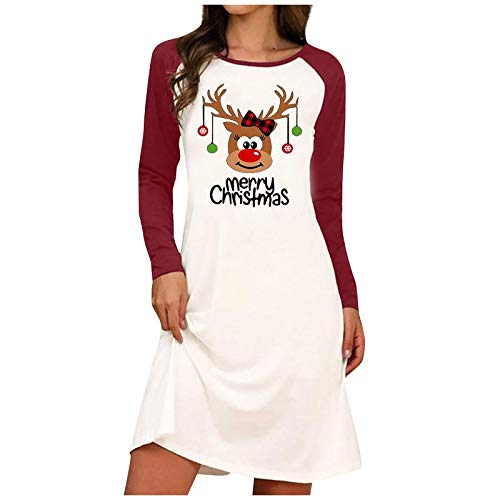 Bigngong Damen Weihnachtsmotiv Pulloverkleid Festlicher Xmas Printed Sweatshirts Mode Langarm Pulli Streetwear Bluse