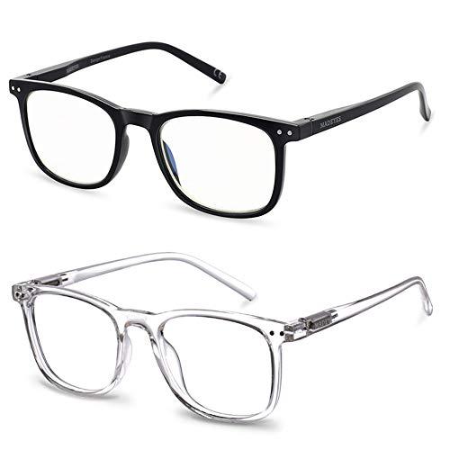 Blue Light Blocking Glasses, 2Pack Cut UV400 Computer Reading Glasses for Anti Eyestrain (Crystal + Black)