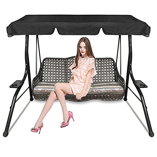 Hollywoodschaukel Ersatzdach Gartenschaukel 3-Sitzer Sonnendach überdachung, Terrassen-Hängemattenabdeckung, wasserdicht & UV-Schutz, schwarz, 195 x 125 x 15 cm