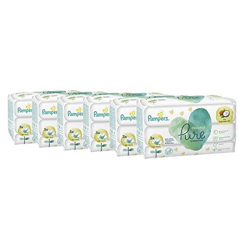 Pampers Coconut Pure Chusteczki Nawilżane Dla Dzieci, 18 Opakowań Po 42 Chusteczek = 756 Chusteczek Z Olejem Kokosowym, Które Myją I Chronią