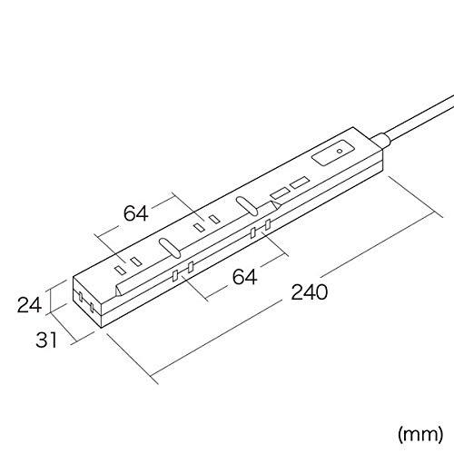 SANWASUPPLY(サンワサプライ)『スリムタップUSB充電機能付き(TAP-SLIM5U-3)』