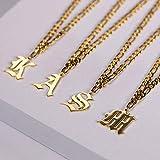 Collar con Letra Inicial Vintage para Mujer, Collar con Colgante de Acero Inoxidable Dorado, joyería de Fuente Inglesa Antigua a la Moda