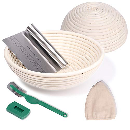 2 Set 9 Inch and 10 Inch Proofing Baskets, Bread Proofing Basket +Bread Lame +Dough Scraper+ Linen Liner Cloth for Professional & Home Bakers