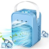 Portable Air Cooler, Mini Air Conditioner, 4 in 1 Personal Evaporative Cooler, Humidifier, Purifier with 7 Colors LED Light, 3 Speed Desktop Cooling Fan for Home, Room, Office