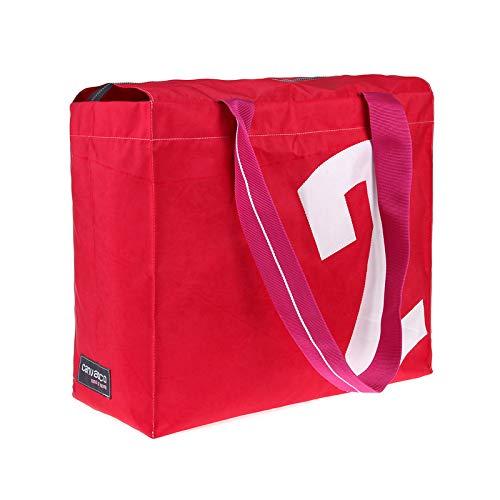 Strandtasche CANVASCO Beach Pro/Tasche rot/Gurt pink-weiß/Motiv 2 weiß