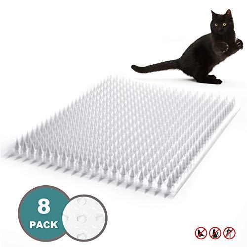 Mardili Tier-Barriere Garten Katze Tierabwehr Scat Spike Matte, Anti-Katze,16 x 13 Zoll, 8 Stück