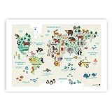 byGraziela Weltkarte Poster für Kinder | Lernposter