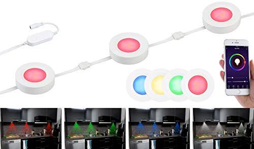 Lunartec Unterbauleuchte: 3er-Set WLAN-Unterbau-LEDs, RGB+W, für Amazon Alexa & Google Assistant (WLAN Unterbauleuchte)